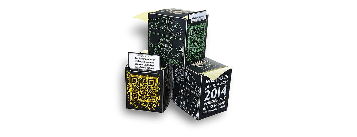 Kalender als Aufkleber in der Box